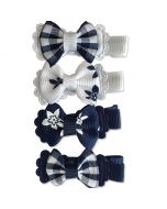 Blue & White Bow Ties with clips for small dogs