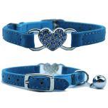 Cat Collar Diamond Heart Blue | Soft Velvet Material | Elastic Security Band