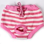 Dog Sanitary Clothes | Pink & White Striped Pants