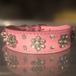 Dog Collar  Diamond Flower Pink