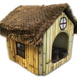 Bamboo House, windowed studio apartment for dogs, with bamboo-patterned walls.