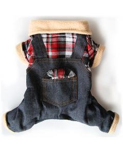 Dog soft Jeans Overalls with fleece material