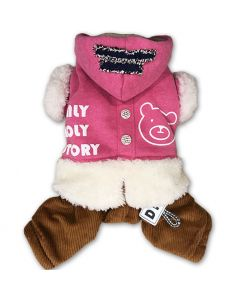 Dog Clothes | Hoodie Overall for Dogs | Pink Ice Bear Dog Jumpsuit