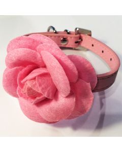 Pink Rose Decorated Collar | Collar for Dogs and Cats