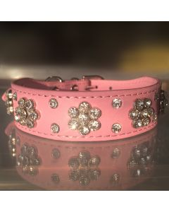 Dog Collar | Diamond Flower Pink