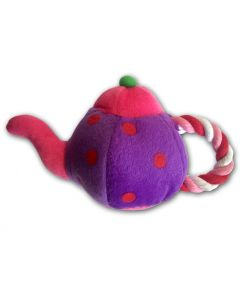 Dog Toy | Teapot | Purple | Squeaky Toy | Rope Toy