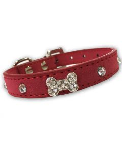 Dog Collar Diamond Bone Velvet Rosa| Lovely Collar For a Small Dog