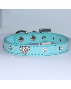 Collar Mini Blue Velvet Glitter Heart,Lovely Collar For a Small Dog or Cat, DiivaDog