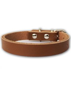 Collar for Dogs and Cats | Mini Leather Brown Minimalistic
