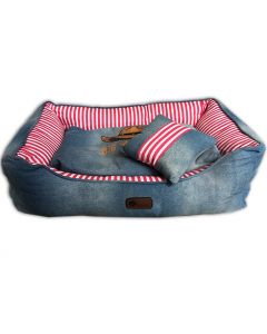 Dog Bed | Western Jeans Pink Bed & Pillow | Comfortable and Soft Bed