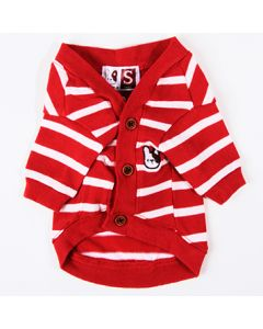 Dogs red and white striped cardigan Rauff Loren | DiivaDog.com