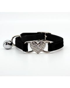 Cat Collar Diamond Heart Black | Soft Velvet Material | Elastic Security Band