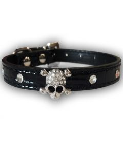 Collar for dogs and cats | Black Skull | Diamond Decoration