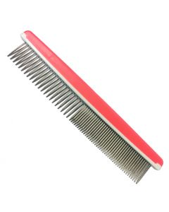 Dog Grooming | Stainless Steel Detangle Comb | Rosa Silicone Handle
