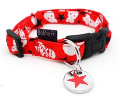 Dog Collar |Skull & Star |Red