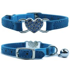 Cat Collar Diamond Heart Blue | Soft Velvet Material | Elastic Security Band