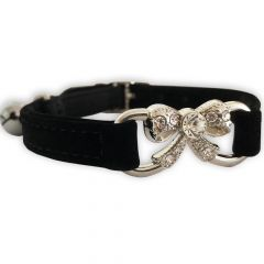 Cat Collar Black Bow Diamond | DiivaDog.com