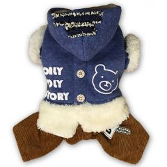 Dog Clothes | Hoodie Overall for Dogs | Blue Ice Bear Dog Jumpsuit