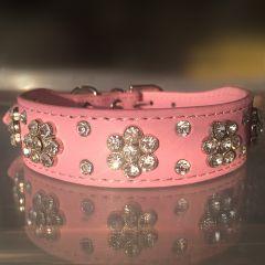 Dog Collar |Diamond Flower Pink