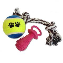 Dog Toy | Dog Toy Set | Puppy Starter Set | 3 Toys in Package