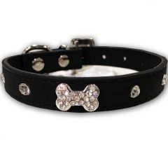 Dog Collar Diamond Bone Black | Lovely Collar For a Small Dog