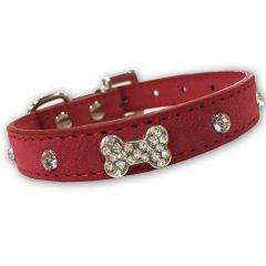 Dog Collar Diamond Bone Velvet Rosa| Lovely Collar For a Small Dog