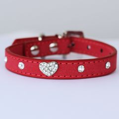 Collar Mini Black Velvet Glitter Heart, for small cat or dog, DiivaDog