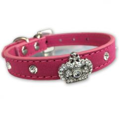 Dog Collar Diamond Queen Royal Pink Velvet