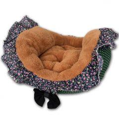 Pet Bed Green FlowerFrill