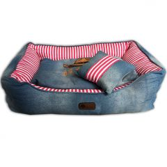 Dog Bed |Western Jeans Pink Bed & Pillow | Comfortable and Soft Bed
