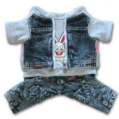 Dog Clothes | Jeans overalls | Grey Rabbit