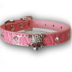 Collar for dog and cats | Skull Pink | Diamond Decorations