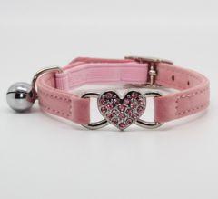 Cat Collar Diamond Heart Pink | Soft Velvet Material | Elastic Security Band
