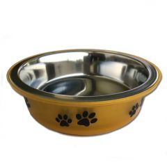 Dog Food Bowl | Gold Paws | Stainless Steel | Anti-Slip