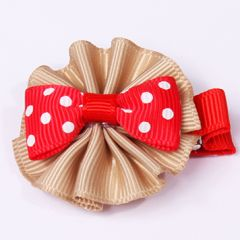 Dog hair jewelry bow | red bow & beige frill | with clips | DiivaDog.com