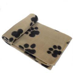 Fleece Blanket Big Paws Beige for Dogs